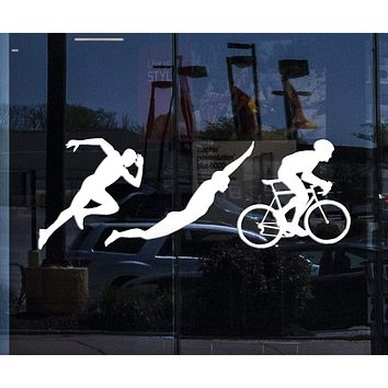 Window Vinyl Wall Decal Triathlon Sports Silhouettes Athlete Running Swimming Cycling Stickers Mural (ig5246w)