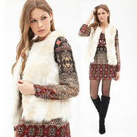 Stylish Women Faux Fur V Neck Sleeveless Vest Coat Outwear Jacket Waistcoat = 1838489284