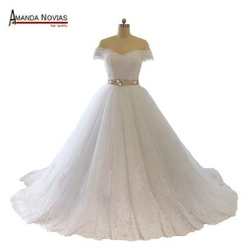 Vestido Para Casamento Off Shoulder Short Sleeve Lace Appliqued V-Neck Crystal Ribbon Sash Wedding Dress