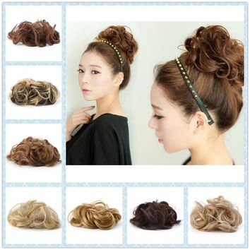 High Quality Women's Tiara Satin Curly Messy Bun Hair Twirl Piece Band Rope Scrunchie Wigs Extensions Hairdressing 7 Color