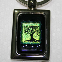 Tree of Life Green and Black Etched Dichroic Fused Glass Keychain 1330