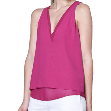 Cooper and Ella Harper Fuchsia Double V Tank