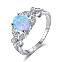 Little butterflys Ring,  CZ,  925 Sterling Silver Opal