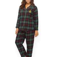 Lauren Ralph Lauren Tartan Cotton Classic Notch Collar Pajama Set