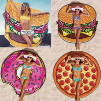Sunbathe Round Beach Towels Large Microfiber Printed Yoga Towel With Tassel Serviette De Plage Toalla Circle Playa 150cm #K400Y#