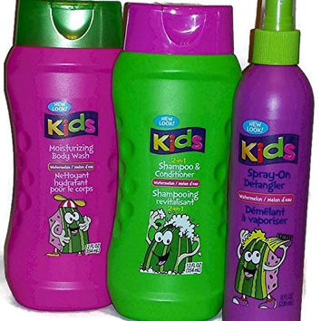Kids Watermelon 2-in-1 Shampoo and Conditioner, Moisturizing Body Wash and Spray-on Detangler. (Bundle of 3 Items)