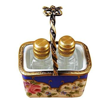 BLUE BASKET W/2 BOTTLES LIMOGES BOXES