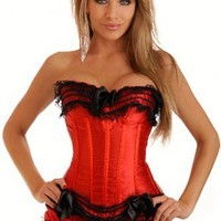 Red Black Burlesque Corset and Skirt Set Intimates @ Amiclubwear Intimates Clothing online store:Lingerie,Corset,Bustier,Women's Intimates,Sexy Intimate,Corset Intimates,intimates underwear,sheer intimates,silk intimates,intimates bras,holiday underwear,g