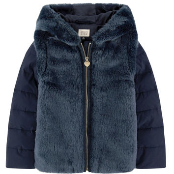Armani Girls Navy Faux-Fur Hooded Jacket