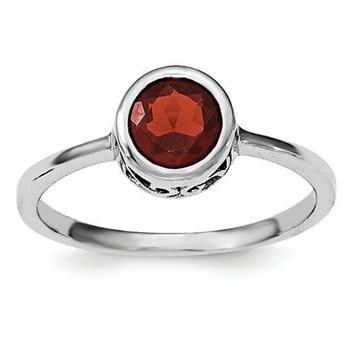 Sterling Silver Garnet Round Bezel-Set Filigree Scroll Ring
