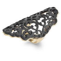 Bar III Gold-Tone Jet Lace Filigree ring
