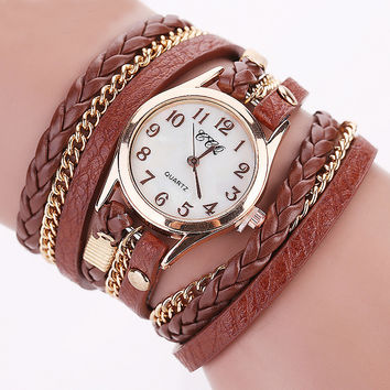 Fashion Casual Pu Leather Bracelet Wrist Watch