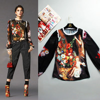 S-XXXXL Angel Fashion Blouse Jacket Long Sleeved Silk Printing Painting Sexy Coat Plus Size Women 2016 And The New summer Runway