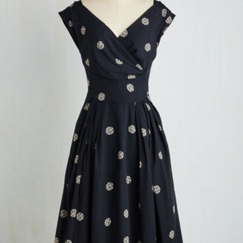 50s Long Sleeveless Fit & Flare Keener Postures Dress in Navy Dots by Emily and Fin from ModCloth