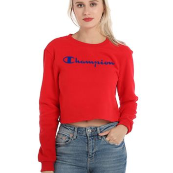 Champion Women New Fashion Autumn And Winter Bust Embroidery Letter Long Sleeve Short Top Sweater Red