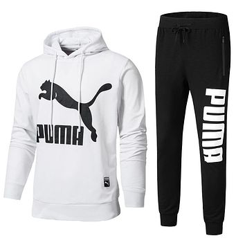 PUMA Trending Men Casual Print Hoodie Top Sweater Pants Sweatpants Set Two-Piece Sportswear White