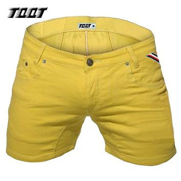 TQQT mens shorts fashion denim shorts slim stretch short straight short male low waist washed solid spliced short jeans 5P0602