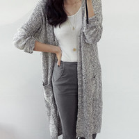 Gray long cardigan, knit sweater