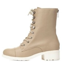 Dollhouse Perforated Combat Boots by Charlotte Russe - Taupe