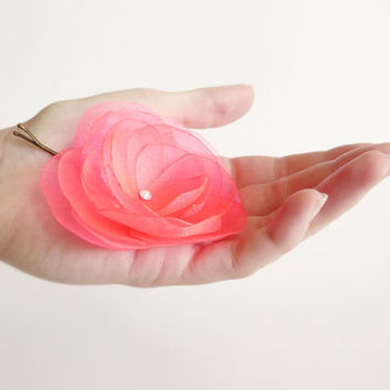 Neon pink organza flower hair clip with Swarovski LIMITED EDITION by Jye, Hand-made in France