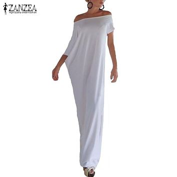 Zanzea Fashion Women Summer Dress 2018 Boho Casual Irregular Long Maxi Party Dresses Sexy Solid Vestidos Plus Size S-5XL