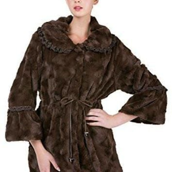 Women's Faux Fur Jacket Coat with Lace Trim