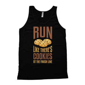 Funny Running Tank Run Like There's Cookies At The Finish Line American Apparel Tank Gym Clothing Fitness Apparel Runner Clothing WT-45