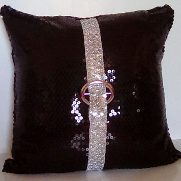 Glossy Black Sequins with Silver Sequin Trim Luxury Pillow Cover