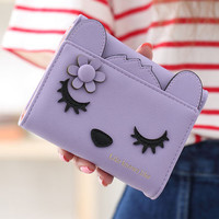 2016 Hot Sale Cat Wallet Female 3fold Fashion Desgin Women Wallets Coin Purses Holder Card Id Mini Hasp Ladies Purse
