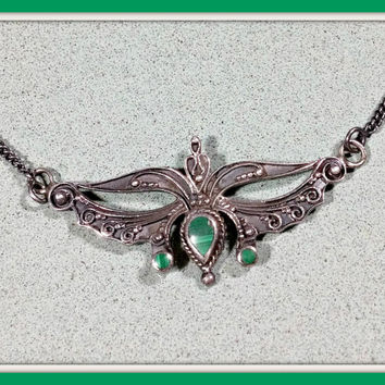Vintage Sterling Silver Pendant Malachite Green Stone Genuine Blackened Silver Unique Design Like a Royal Emblem Spread Wings Simple Appeal