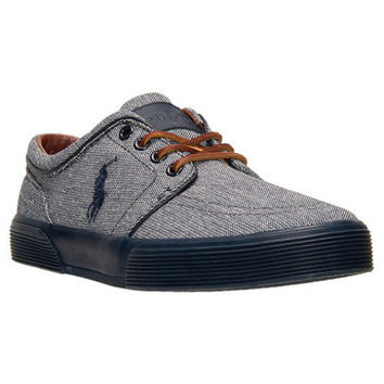 NEW POLO RALPH LAUREN Faxon Low Casual Shoes, Navy Chambray