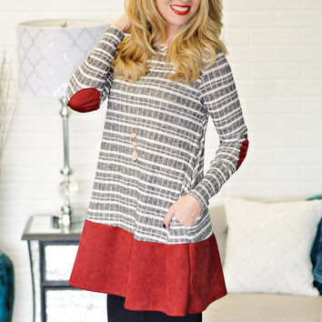 * Hedy Striped and Suede Accent Top - Black and Burgundy