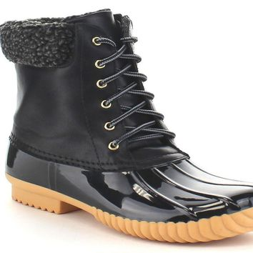 Stitching Lace Up Waterproof?Shoes For Women