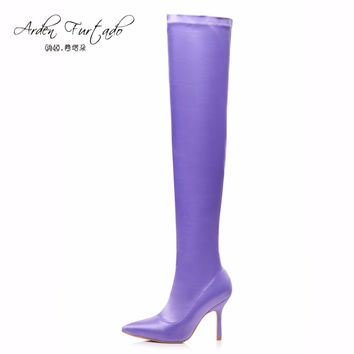 Arden Furtado summer autumn over the knee thigh high boots stiletto heel long stretch boots purple sexy shoes for women woman
