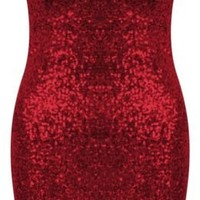 Vip Women's Sequin Boobtube Padded Party Dress