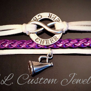Infinity & Cheer w/a Megaphone or choose your Charm Triple Tier Suede/Leather Bracelet - Football, Dance, Hockey, Sport Mom, Music, sports