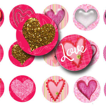 Love hearts digital collage sheet 1 inch circles, Valentine's day circles, Printable download, Magnets, Pendants, Printable planner sticker