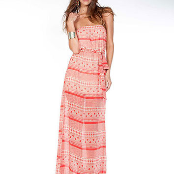 Printed Chiffon Tube Maxi Dress | Sexy Clothes Womens Sexy Dresses Sexy Clubwear Sexy Swimwear | Flirt Catalog