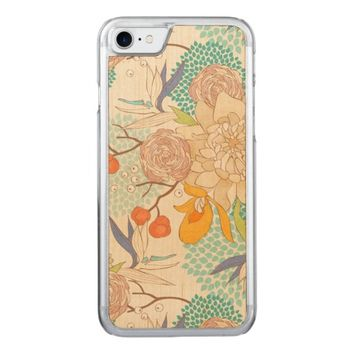 Modern Rose Peony Flower Pattern Carved iPhone 7 Case