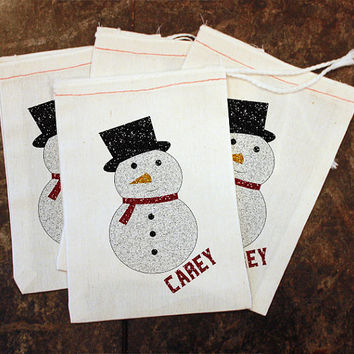 Christmas Favor Bags - School Winter Party / Kids Christmas Party / Snowman Treat Bags / Classroom Teacher Gift / Glitter Snack / Muslin 5x7