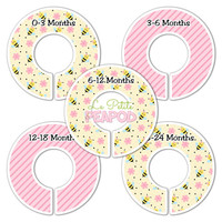 5 Custom Baby Closet Dividers - Nursery Organizers Pink Yellow Bees and Flowers Baby Girl Nursery Shower Gift - Baby Clothing Dividers