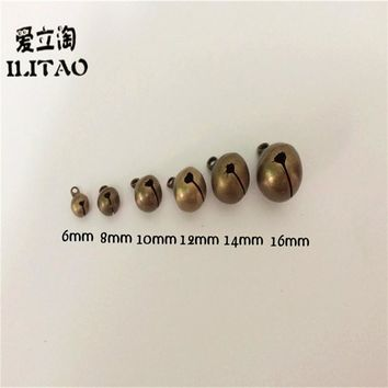 ILITAO 6/8/10/12/14/16MM Brass and Steel Antique Bronze Bell Charms Really Bell Beads Diy Handmade Jewelry Findings Accessories