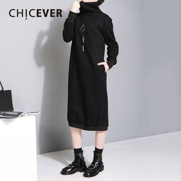 High Collar Plus Velvet Dress Female Tunic Long Sleeve Loose Warm Pullovers Black Autumn Women Dresses Clothes