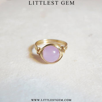 Big Lavender Jade Ring - unique ring - bohemian jewelry - wire wrapped ring - thick band - size US 5-11