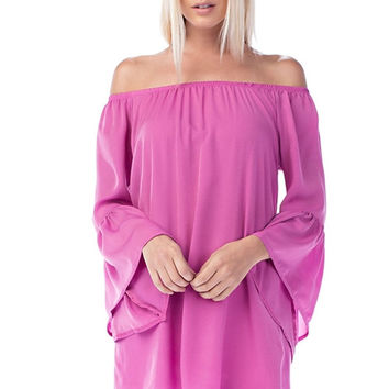 Pink Mulberry Off The Shoulder Bell Sleeve Top