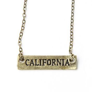 CALIFORNIA ENGRAVED PLATE NECKLACE