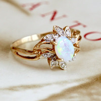 Retro Opal Diamond Ring, Vintage Opal Halo Ring, Vintage Opal Diamond 10k Gold Ring, Unique Alternative Engagement Ring, Promise Ring