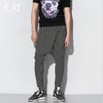 HOT 2016 Spring new men's casual pants loose trousers small straight pants stripe harem pants singer costumes clothing