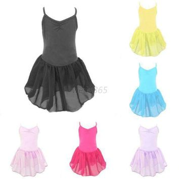Child Girls Kids Gymnastics Ballet Dance Tutu Dress Sleeveless Leotard Dancewear