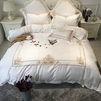 Egyptian cotton white color luxury hotel Bedding set gold embroidered bed sheet set duvet cover king queen size wedding bed set